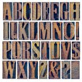 Alphabet iand punctuation in wood type — Stock Photo