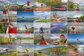 Collection of stand up paddling (SUP) pictures — Stock Photo