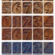 Outlined numbers in letterpress wood type — Stock Photo #78290730