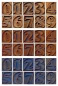 Outlined numbers in letterpress wood type — Stock Photo