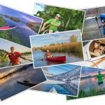 Paddling kayak, canoe and SUP picture set — Stock Photo #78758010