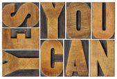 Yes you can motivation phrase — Stock Photo