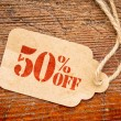 Fifty percent off discount -  paper price tag — Stock Photo #80651586