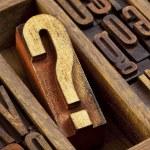 Question mark in letterpress  wood type — Stock Photo #80726872