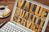 Value, quality, service typography — Stock Photo