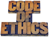 Code of ethics word abstract in wood type — Stock Photo