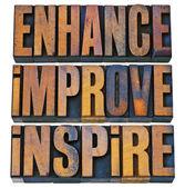 Enhance, improve, inspire in wood type — Stock Photo