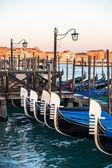 Charterage gondolas parked in Canale di San Marco, Piazza San Ma — Stock Photo