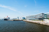 Queen Mary 2 - the luxurious cruise liner in Hamburg as seen from the new university — Stock Photo