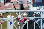 Love lockers in Speicherstadt (Hafencity) in Hamburg — Stock Photo