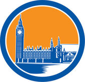 Big Ben Clock Tower Westminster Palace Woodcut Retro — Stock Vector