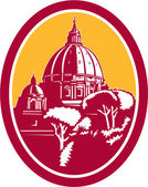 Dome of St Peter's Basilica Vatican Retro — Stockvector