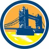 Tower Bridge London Woodcut Retro — Stock Vector