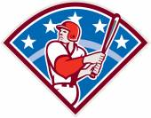 American Baseball Batter Hitter Bat Diamond Retro — Stock Vector