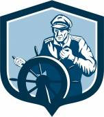 Fisherman Sea Captain Shield Retro — Vector de stock