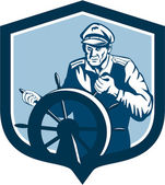 Fisherman Sea Captain Shield Retro — Vetorial Stock