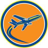 Commercial Jet Plane Airline Flying Retro — Stock Vector