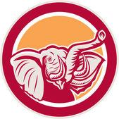 Elephant Head Tusk Circle Retro — Stock Vector