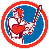 American Baseball Player Batter Hitter Circle Retro — Stock Vector