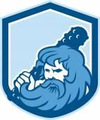Hercules Wielding Club Shield Retro — Stock Vector