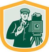 Photographer Shooting Vintage Camera Shield Retro — Stock Vector