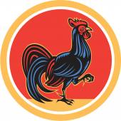 Chicken Rooster Marching Walking Circle Retro — Stock Vector