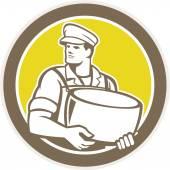 Cheesemaker Holding Parmesan Cheese Circle — Stock Vector