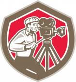 Cameraman Vintage Film Camera Shield Retro — Stock Vector