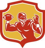 American Football Quarterback Shield Retro — Stock Vector