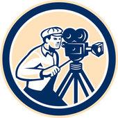 Cameraman Vintage Film Camera Circle Retro — Stock Vector