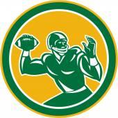 American Football Quarterback Circle Retro — Stock Vector
