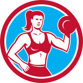 Personal Trainer Female Lifting Dumbbell Circle — Stock Vector
