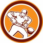 Foundry Worker Holding Ladle Circle Retro — Stock Vector
