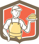 Cheesemaker Holding Parmesan Cheese Cartoon — Stock Vector