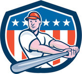 American Baseball Player Batting Shield Cartoon — Stock Vector