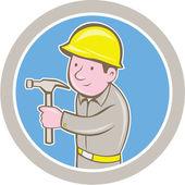 Carpenter Builder Hammer Circle Cartoon — Vector de stock