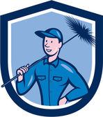 Chimney Sweep Worker Shield Cartoon — Stock Vector