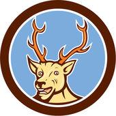 Stag Deer Happy Head Circle Cartoon — Stock Vector