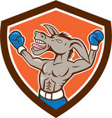Donkey Boxing Celebrate Shield Cartoon — Stock Vector