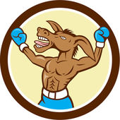 Donkey Boxing Celebrate Circle Cartoon — 图库矢量图片