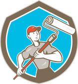 House Painter Paint Roller Shield Cartoon — Stock Vector