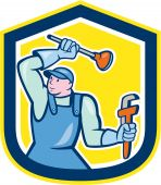Plumber Wielding Plunger Wrench Shield Cartoon — Stock Vector