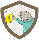 Trout Fish Holding Beer Mug Shield Cartoon — Stock Vector