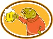 Trout Fish Holding Beer Mug Oval Cartoon — Stock Vector