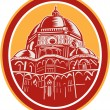 Dome of Florence Cathedral Front Woodcut — Stock Vector #52505457