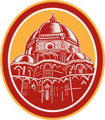 Dome of Florence Cathedral Front Woodcut — Stok Vektör