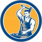 Blacksmith Hammering Pliers Circle Retro — Stock Vector