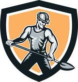 Coal Miner Hardhat Shovel Shield Retro — Stock Vector