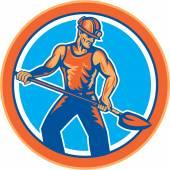 Coal Miner Hardhat Shovel Circle Retro — Stock Vector