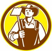 Organic Farmer Holding Grab Hoe Circle Retro — Stockvektor